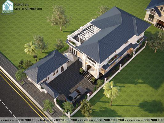 Góc nhìn trên cao của mẫu biệt thự tân cổ điển đẹp KKBTV204