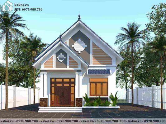 Mẫu nhà cấp 4 mái thái 3 phòng ngủ 1 phòng thờ 7x12m KKNC4034