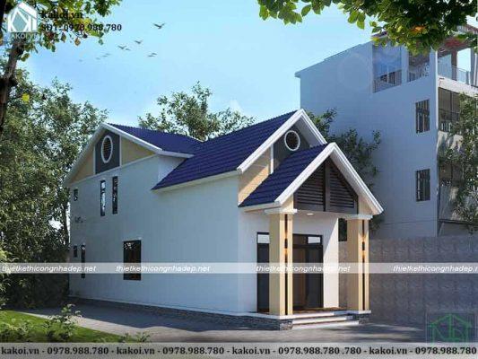 Mẫu nhà cấp 4 gác lửng mái thái 5x17m KKNC4028