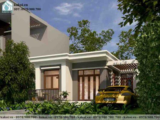 Phối cảnh 3D mẫu nhà cấp 4 ở nông thôn mái bằng 3 phòng ngủ KKNC4074