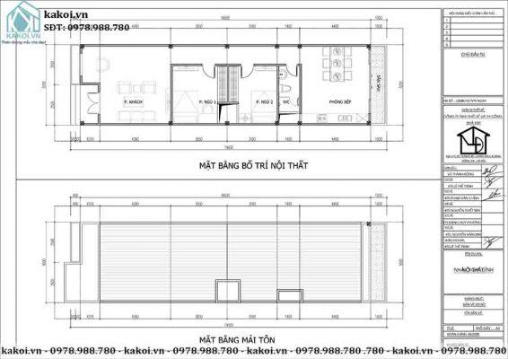 Mặt bằng công năng mẫu nhà cấp 4 ở nông thôn 2 phòng ngủ mái bằng KKNC4039