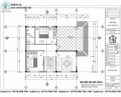 Mặt bằng của mẫu nhà cấp 4 ở nông thôn 3 phòng ngủ KKNC4074