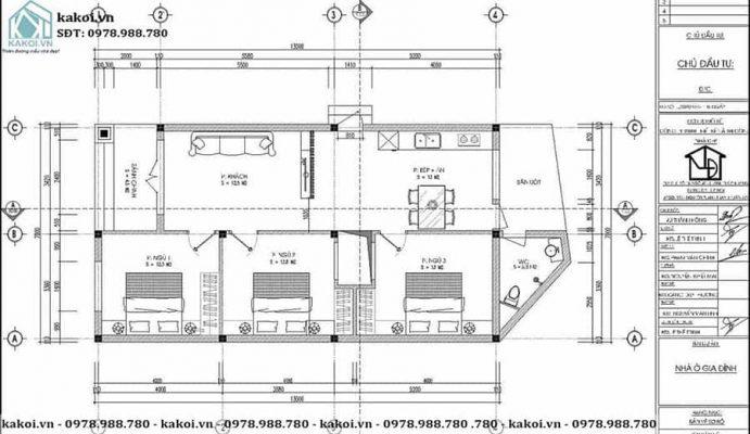 Mặt bằng công năng mẫu nhà ống cấp 4 mái lệch 7x13m KKNC4035