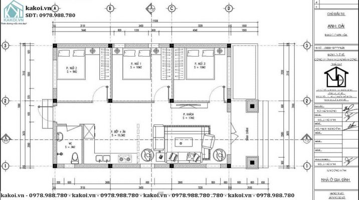 Chi tiết mặt bằng bố trí nội thất mẫu nhà cấp 4 3 phòng ngủ tại Hà Nội KKNC4082