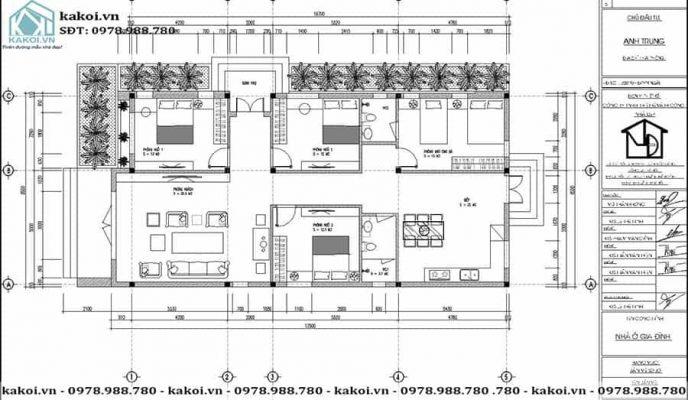 Mặt bằng công năng mẫu nhà ống cấp 4 diện tích 9x18m