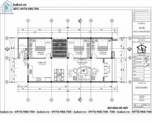 Mặt bằng công năng mẫu nhà ống cấp 4 3 phòng ngủ 7,5x16m