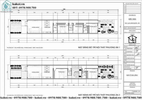 Mặt bằng công năng mẫu nhà ống cấp 4 3 phòng ngủ 5x16m KKNC4027