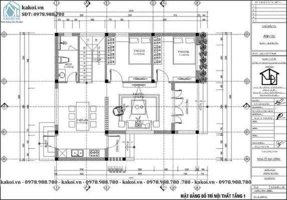 Sơ đồ bố trí nội thất tầng 1 tiện nghi, ấm cúng với 2 phòng ngủ KKNC4099