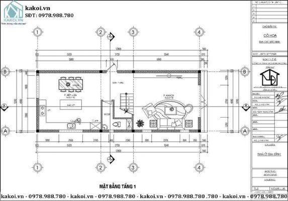 Mặt bằng công năng tầng 1 của mẫu KKNO344