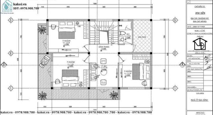 Mặt bằng công năng tầng 1 mẫu biệt thự hiện đại 2 tầng mái Nhật 8x13m KKBTV084