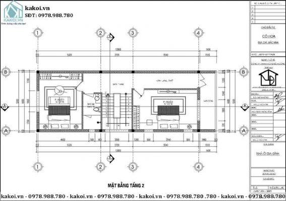 Mặt bằng công năng tầng 2 của mẫu KKNO344