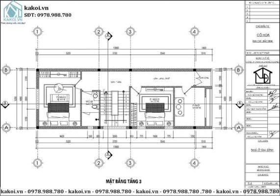 Mặt bằng công năng tầng 3 của mẫu KKNO344