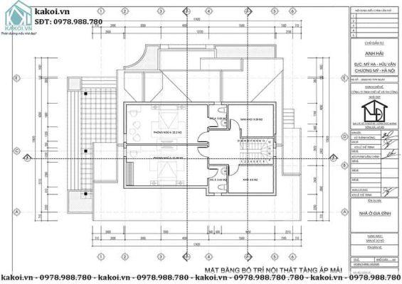 Mặt bằng công năng tầng lửng mẫu nhà cấp 4 gác lửng 12x16m KKNC4006