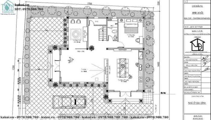 Mặt bằng tổng thể mẫu biệt thự vườn 2 tầng 2 mặt tiền đẹp KKBTV022