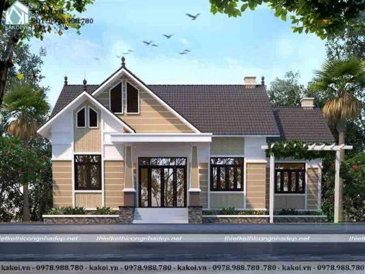 Mẫu nhà cấp 4 4 phòng ngủ mái thái phong cách Châu Âu KKNC4016