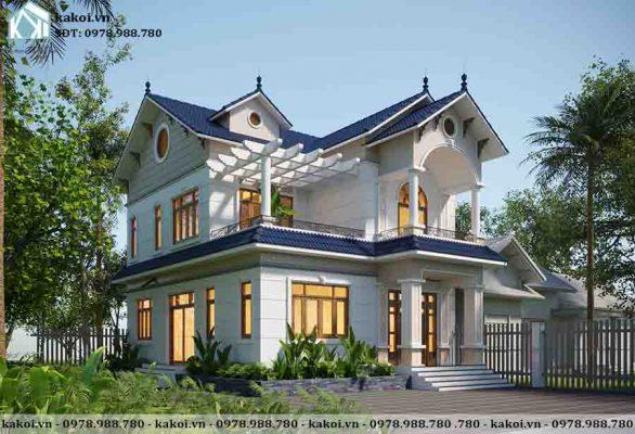 Gam màu trắng sang trọng của mẫu biệt thự 2 tầng tân cổ điển đẹp KKBTV041