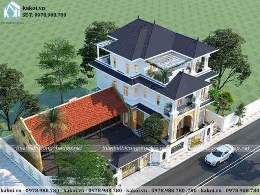 Sự kết hợp độc đáo của mẫu biệt thự tân cổ điển và căn nhà cấp 4 mái ngói cổ kính KKBTV035